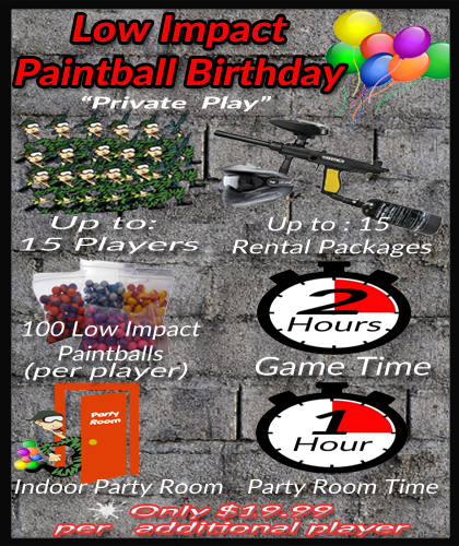 Low Impact Paintball Games in Dallas Fort Worth Birthday party